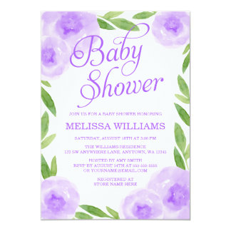 Purple Watercolor Floral Leaf Girl Baby Shower 13 Cm X 18 Cm Invitation Card