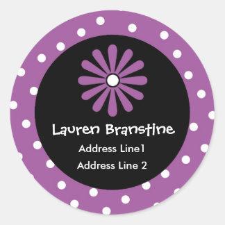 Purple & White Polka Dot Address Labels Round Sticker
