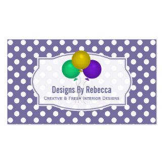 Purple White Polka-dot: Balloons Business Cards