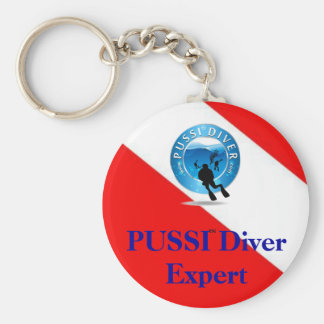 PUSSI on the Run ... Basic Round Button Key Ring