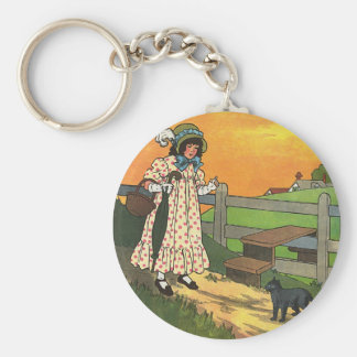 Pussy-cat, pussy-cat, Where have you been? Basic Round Button Key Ring