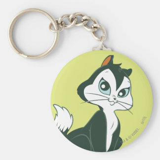 Pussy Foot Sitting Basic Round Button Key Ring