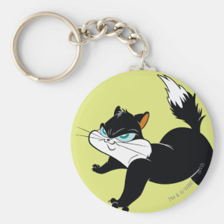Pussyfoot Claws Out Basic Round Button Key Ring