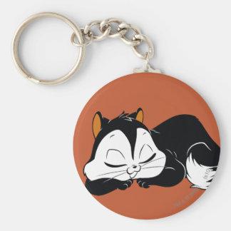 Pussyfoot Sleepy Kitty Basic Round Button Key Ring