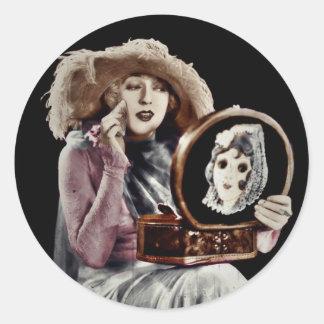 Putting on Makeup Round Sticker