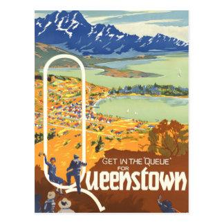 Queenstown, New Zealand Vintage Travel Postcard