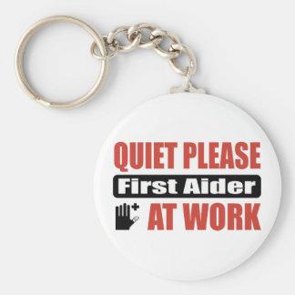 Quiet Please First Aider At Work Basic Round Button Key Ring