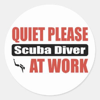 Quiet Please Scuba Diver At Work Round Sticker