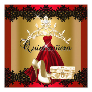 Quinceanera 15th Red Black Gold Diamond Tiara 13 Cm X 13 Cm Square Invitation Card