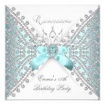 Quinceanera 15th Teal Blue Silver White Diamond 13 Cm X 13 Cm Square Invitation Card