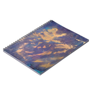 Quirky Purple Black Blue Teal Metallic Gold Funky Spiral Note Book