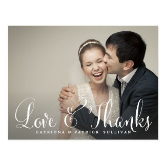 Quirky Whimsical Script Wedding Thank You Postcard