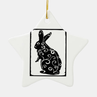 rabbit ceramic star decoration