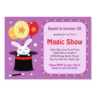 Rabbit in magicians hat magic show birthday party 11 cm x 16 cm invitation card