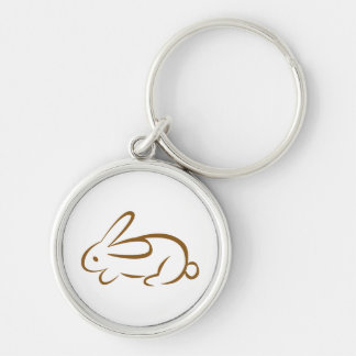 rabbit Silver-Colored round key ring