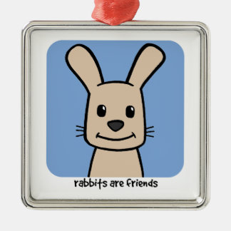 Rabbits Are Friends Silver-Colored Square Decoration