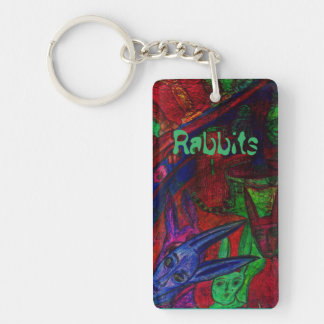 """Rabbits"" Rectangle (double-sided) Keychain"