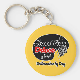 Race Car Driver by Night Boilermaker by Day Basic Round Button Key Ring