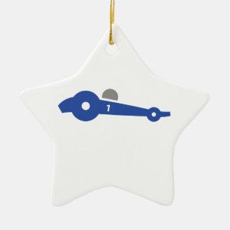 Racing car illustration printed on t-shirts ceramic star decoration