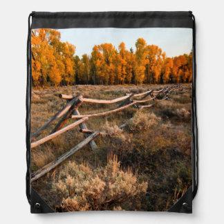 Rail Fence Across Sage Brush In Grand Teton Backpack