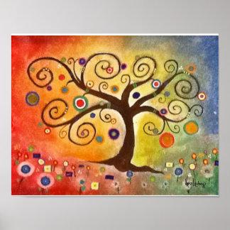 Rainbow Fine Art Tree of Life Painting Poster