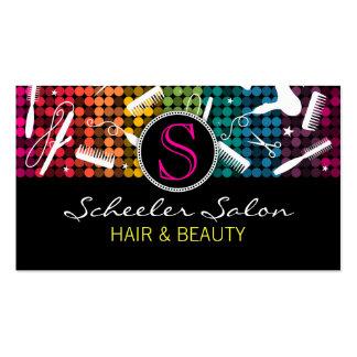 Rainbow Glam Hair Salon Monogram Business Cards