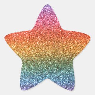 Rainbow glitter star sticker