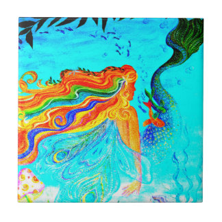 rainbow hair mermaid tile
