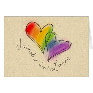Rainbow Heart Joined in Love Greeting Card