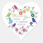 Rainbow Theme Birds Flowers Wedding Favour Tags Heart Sticker