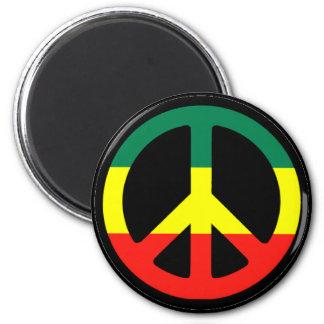 Rasta Peace Symbol 6 Cm Round Magnet