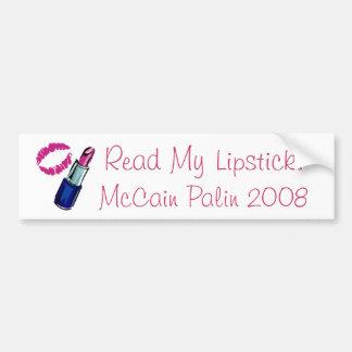 Read My Lipstick! McCain Palin 2008 Bumper Sticker