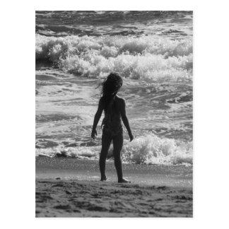 Ready to Face the World - Girl on the Beach Postcard
