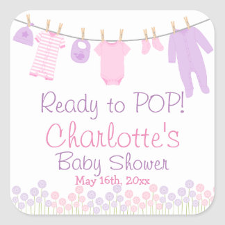 Ready To POP Lil Clothes Pink & Purple Baby Shower Square Sticker
