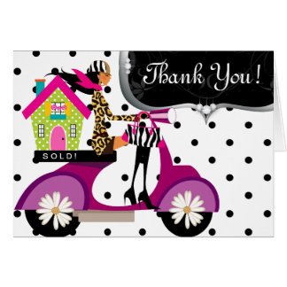 Real Estate House Scooter Girl Dots Thank You Greeting Card