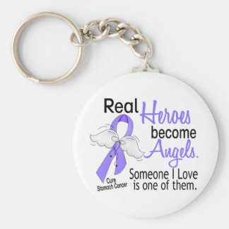 Real Heroes Become Angels Stomach Cancer Basic Round Button Key Ring