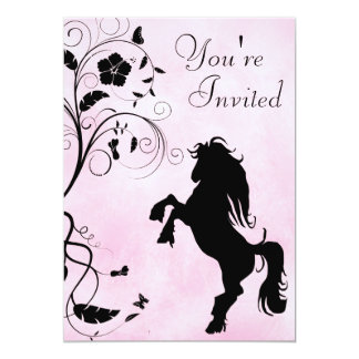 Rearing Horse and Flowers Pink Birthday Invitation
