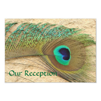RECEPTION CARDS PEACOCK FEATHER 9 CM X 13 CM INVITATION CARD