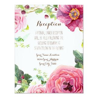 Reception Rose Peony Wreath Modern Simple Leaf 11 Cm X 14 Cm Invitation Card