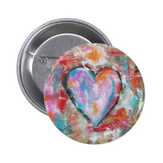 Reckless Heart Abstract Art Painting Pink Red Blue 6 Cm Round Badge