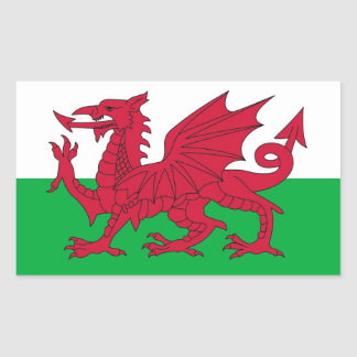 Rectangle sticker with Flag of Wales