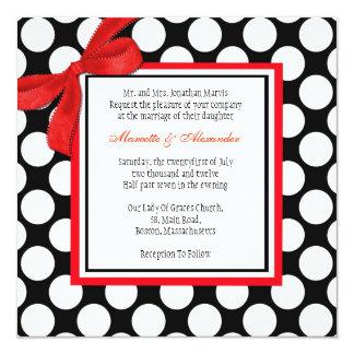 Red and Black Polka Dot Wedding Invitation