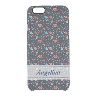 Red and Blue Hearts Pattern Clear iPhone 6/6S Case