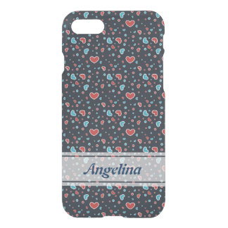 Red and Blue Hearts Pattern iPhone 7 Case