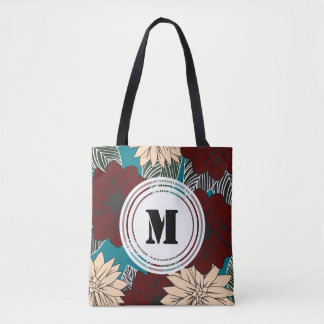 Red and Cream Modern Blooms Floral Personalized Tote Bag