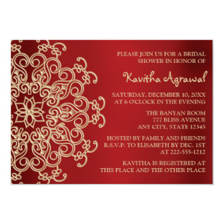 Red and Gold Indian Inspired Bridal Shower 13 Cm X 18 Cm Invitation Card