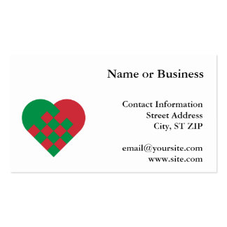 Red and Green Danish Heart Pack Of Standard Business Cards