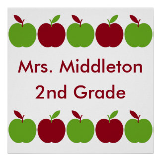 Red and Green Teacher's Apples Personalized Poster