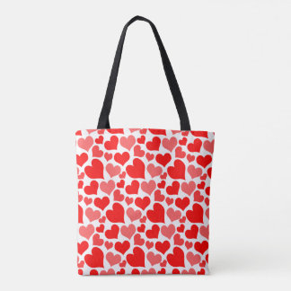 Red and Pink Hearts Pattern Tote Bag