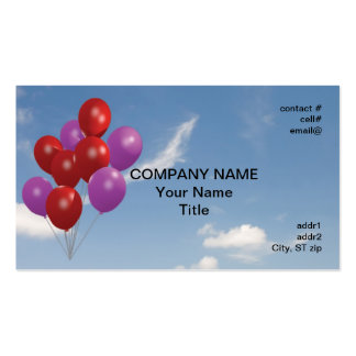 red and pink party balloons pack of standard business cards